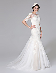LAN TING BRIDE Fit & Flare Wedding Dress - Chic & Modern Open Back See-Through Wedding Dress in Color Court Train Jewel Lace Tulle with