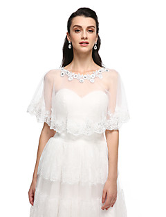 Women's Wrap Ponchos Lace Wedding Party/Evening Appliques Rhinestone