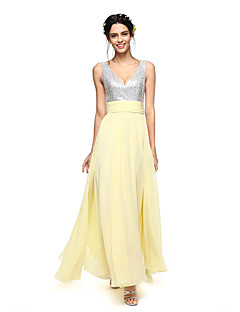 LAN TING BRIDE Até o Tornozelo Decote V Vestido de Madrinha - Brilho & Glitter Sem Mangas Chiffon Paetês