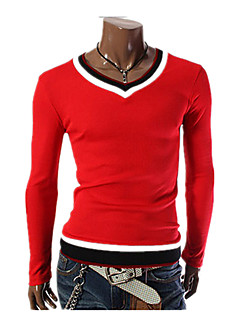 Men's Sports Going out Casual/Daily Work Simple Street chic Punk & Gothic All Seasons T-shirt,Solid Color Block V Neck Long SleeveCotton