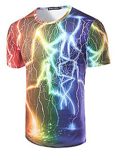 男性 ホリデー ビーチ クラブ Tシャツ,シンプル ボヘミアン ラウンドネック プリント マルチカラー コットン 半袖