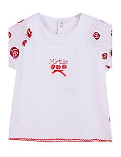 bebê Camiseta-Casual Estampado-Algodão-Verão-Branco