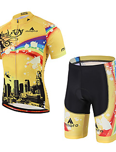 Miloto Cycling Jersey with Shorts Unisex Short Sleeve BikeSweat-wicking Comfortable Lightweight Materials 3D Pad Reflective Strips