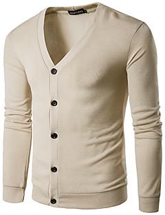 Men's Casual/Daily Regular Cardigan,Solid Shirt Collar Long Sleeve Wool Spring Fall Medium Micro-elastic