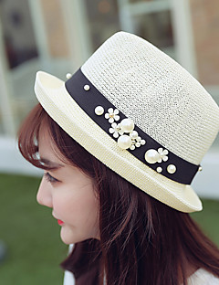 Women Sweet Straw Sun Bucket Hat Beach Hat Pearls Casual Summer
