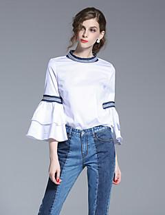 Langærmet Rund hals Damer Hvid Ensfarvet Forår Sommer Simpel I-byen-tøj Skjorte,Bomuld