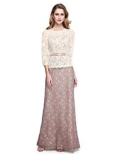 Lanting Bride® Strak/kolom Bruidsmoederjurken - Elegant Kleurenblok Tot de grond 3/4 mouw Kant  -  Strik(ken) Sjerp / Lint