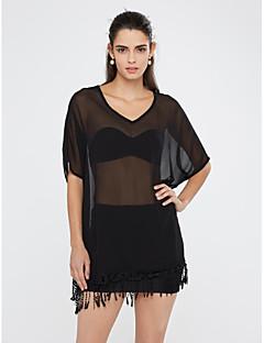 Damen Jacquard Sexy / Boho Strand Bluse,V-Ausschnitt Sommer Kurzarm Rot / Schwarz Kunstseide / Polyester Dünn