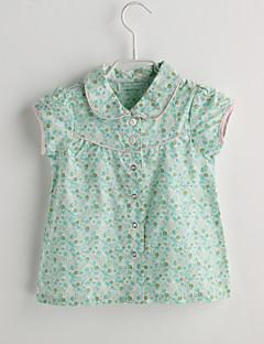 Baby Fritid/hverdag Skjorte Blomstret-Bomull-Sommer-Grønn