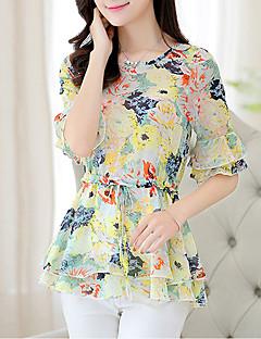 여성 프린트 라운드 넥 짧은 소매 블라우스,심플 데이트 오렌지 옐로 폴리에스테르 여름 중간