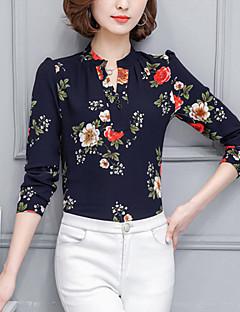 Feminino Blusa Para Noite Trabalho Tamanhos Grandes Moda de Rua Primavera Verão,Floral Azul Branco Preto Poliéster Colarinho ChinêsManga