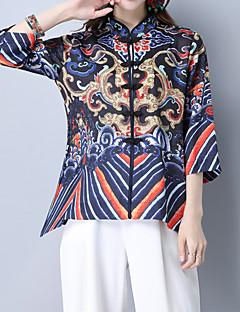 Vår Höst Blommig Broderi Halvlång ärm Utekväll Ledigt/vardag Semester T-shirt,Vintage Gullig Kineseri Dam Asymmetrisk Bomull MediumBlå
