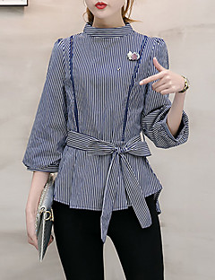 Women's Going out Formal Work Vintage Street chic Sophisticated Spring Summer Shirt,Striped Round Neck ¾ Sleeve Blue Black Others Medium