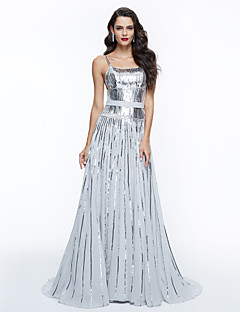 TS Couture Formal Evening Dress - Sparkle & Shine Elegant Celebrity Style A-line Spaghetti Straps Sweep / Brush Train Sequined withSash /