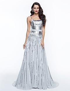 TS Couture Kolacja oficjalna Sukienka - Błyszczące Eleganckie Fason celebrycki Krój A Cienkie ramiączka Tren sweep Z cekinami zPrzewiązka