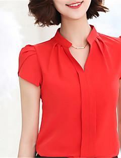 Mujer Chic de Calle Noche Casual/Diario Trabajo Primavera Verano Camisa,Escote en Pico Un Color Manga Corta Poliéster Azul Rosa Rojo Medio