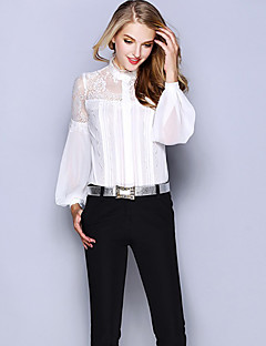 Women's Casual/Daily Work Sophisticated Shirt,Solid Round Neck Long Sleeve White Black Silk