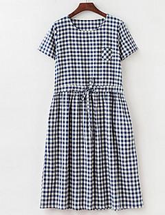 קיץ כותנה פשתן כחול שחור שרוולים קצרים עד הברך צווארון עגול משובץ דמקה פשוטה חמוד סגנון סיני ליציאה יום יומי\קז'ואל מידות גדולות שמלה
