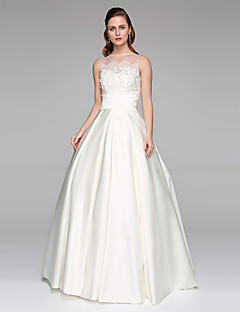 LAN TING BRIDE Ball Gown Wedding Dress - Classic & Timeless Two-Piece Floor-length Bateau Lace Satin with Appliques Beading