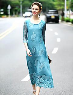 여성 루즈핏 드레스 데이트 귀여운 자수장식,라운드 넥 미디 ½ 길이 소매 블루 그레이 실크 봄 여름 중간 밑위 약간의 신축성 중간