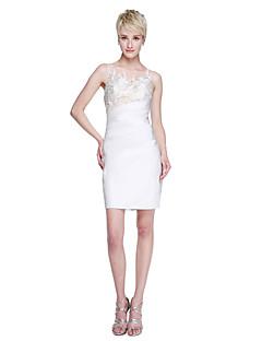 LAN TING BRIDE קצר \ מיני עם תכשיטים שמלה לשושבינה - אלגנטי אמא ובת ללא שרוולים תחרה סאטן נמתח