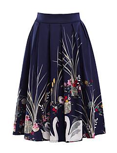 נשים גזרת A דפוס חצאיות,וינטאג' ליציאה מסיבה\קוקטייל,באורך ברך גיזרה בינונית (אמצע) רוכסן כותנה Polyesteri מיקרו גמישות סתיו