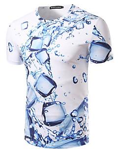 Bomull Blå Kortermet,Rund hals T-skjorte Trykt mønster Enkel Fritid/hverdag Strand Ferie Herre