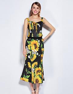 Alkalmi Aranyos Aszimmetrikus-Női Póló Szoknya Ruhák,Virágos Rugó Nyár Ujjatlan Poliester Spandex