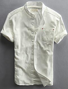 Для мужчин На каждый день Лето Рубашка Воротник с уголками на пуговицах (button-down),Простое Однотонный С короткими рукавами,Лён,Средняя