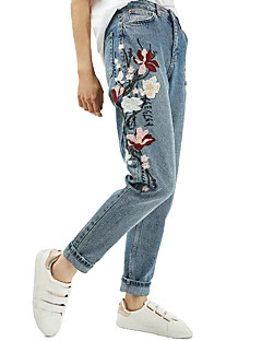 Heavy embroidered flowers big European and American jeans micro harem pants spring 2017 women's new foreign trade