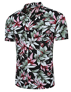 Men's Casual/Daily Chinoiserie Shirt,Check Classic Collar Short Sleeve Cotton