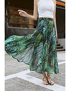 סתיו חצאיות מקסי ליציאה דפוס גיזרה בינונית (אמצע) נדנדה נשים