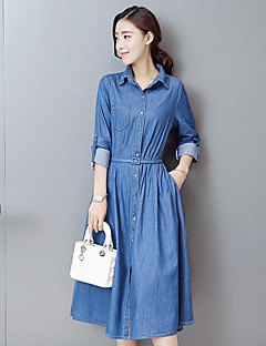 Women's Going out Casual/Daily A Line Dress,Solid Shirt Collar Above Knee Long Sleeve Cotton Summer Mid Rise Micro-elastic Thin