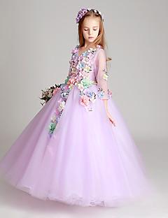 Na zem Tyl Šaty pro malou družičku Princess Klenot s Aplikace