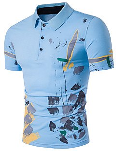 Men's Going out Casual/Daily Sexy Simple Street chic Polo,Print Shirt Collar Short Sleeve Cotton Polyester