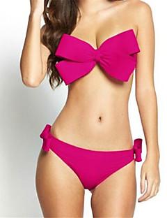 Women's Bandeau Straped Bikini,Solid Polyester