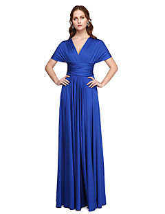 LAN TING BRIDE Floor-length One Shoulder Strapless V-neck Bridesmaid Dress - Convertible Dress Sleeveless Jersey