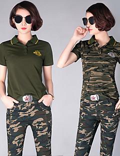Mulheres Camisa + Shorts Acampar e Caminhar Caça Respirável Permeável á Humidade Vestível Primavera Verão Outono InvernoCamuflagem Verde