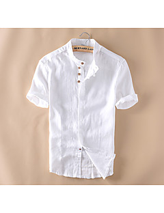 Men's Casual/Daily Simple Summer Shirt,Solid Button Down Collar Short Sleeves Linen Medium