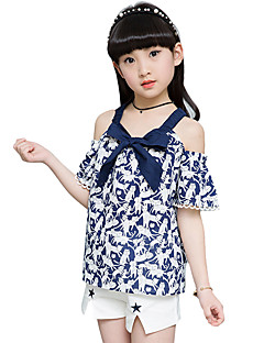 Girls' Cartoon Going out Casual/Daily Holiday Bowknot Patchwork Sets Cotton Summer Short Sleeve Top Shorts 2 Piece Clothing Set