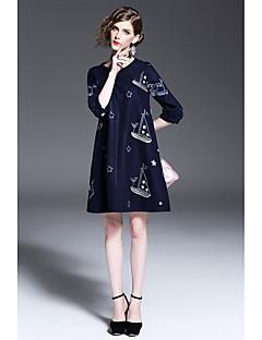 Γυναικείο Καθημερινά Παραλία Βίντατζ Απλό Θήκη Φόρεμα,Πουά ½ Μανίκι Στρογγυλή Λαιμόκοψη Ασύμμετρο Ρεϊγιόν Ακρυλικό Άνοιξη Φθινόπωρο