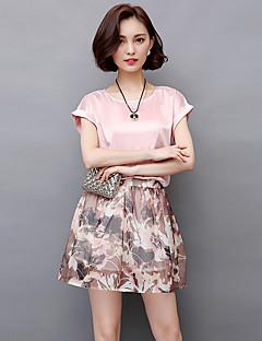 2017 sommeren nye koreanske kortærmet trykt chiffon kjole todelt nederdel dragt nederdel små duftende vind tidevand kvindelige