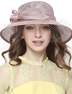 Women's summer flax yarn dome sun hat big hat England noble party hat fashion gauze big bowknot
