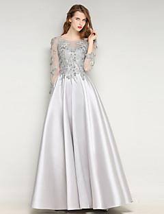 Formal Evening Dress Sheath / Column Jewel Floor-length Mikado with Lace