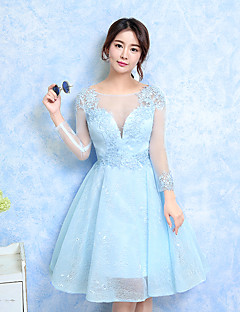 Knee-length Jewel Bridesmaid Dress - Lace-up Long Sleeve Lace Tulle