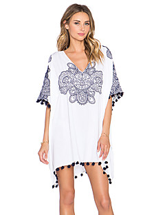 Women's Going out Casual/Daily Holiday Loose Dress,Print V Neck Above Knee ½ Length Sleeve Cotton Summer Mid Rise Micro-elastic Thin