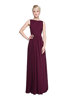 LAN TING BRIDE Floor-length Bateau Bridesmaid Dress - Beautiful Back Furcal Sleeveless Chiffon
