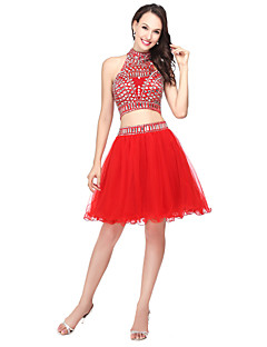 Vestido de fiesta vestido de fiesta halter corto / mini Tulle con rebordear