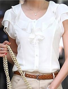 Koszula-Damskie Prosta Lato Codzienne-Okrągły dekolt Jendolity kolor-Krótki rękaw Rayon