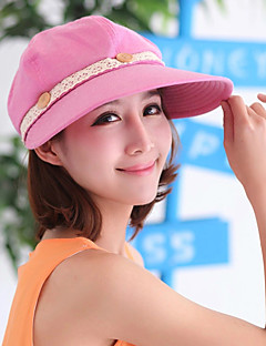Women's Fashion Sun Hat Wide Brim/Baseball Cap Cute Casual Removable Cotton/Lace Summer Beige/Grey/Fuchsia